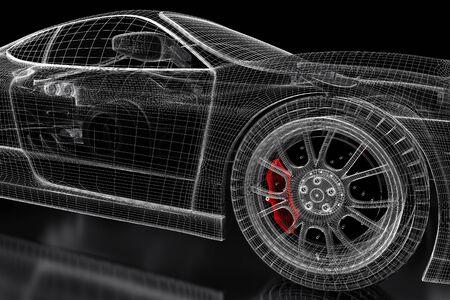 brake caliper: Car vehicle 3d blueprint mesh model with a red brake caliper on a black background. 3d rendered image
