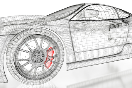 Car vehicle 3d blueprint mesh model with a red wheel tire on car vehicle 3d blueprint mesh model with a red brake caliper on a white background malvernweather Choice Image