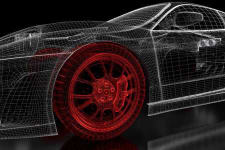 Car vehicle 3d blueprint mesh model with a red wheel tire on a black background. 3d rendered image