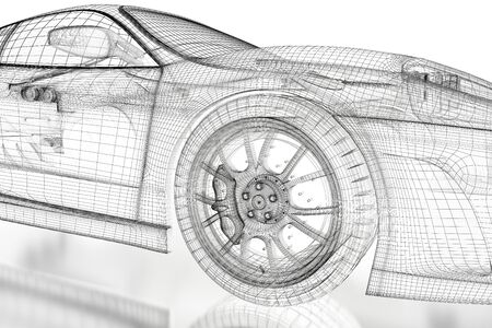 Car vehicle 3d blueprint mesh model with a red wheel tire on car vehicle 3d blueprint mesh model on a white background 3d rendered image photo malvernweather Choice Image