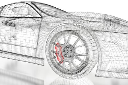 Car Vehicle 3d Blueprint Mesh Model With A Red Brake Caliper.. Stock ...