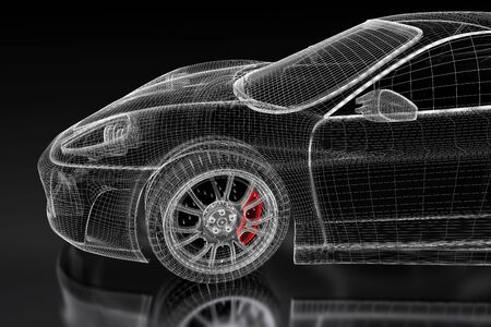 3D sport car vehicle blueprint model with a red brake caliper on a black background. 3d rendered image Stock Photo