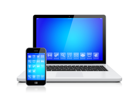 information medium: Laptop and mobile smartphone gadget with a blue background and apps on a device screen. Isolated on a white. 3d image