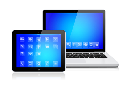 computer device: Laptop and tablet pc computer gadget with a blue background and apps on a device screen. Isolated on a white. 3d image