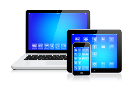 computer device: Laptop, tablet pc computer and mobile smartphone gadget with a blue background and apps on a device screen. Isolated on a white. 3d image
