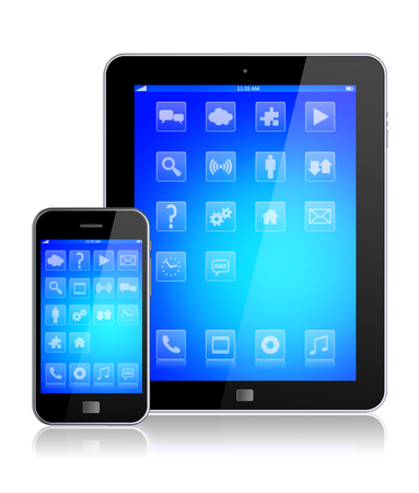 computer device: Tablet pc computer and mobile smartphone gadget with a blue background and apps on a device screen. Isolated on a white. 3d image