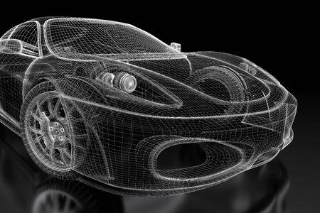 Car Vehicle 3d Blueprint Model On A Black Background. 3d Rendered ...