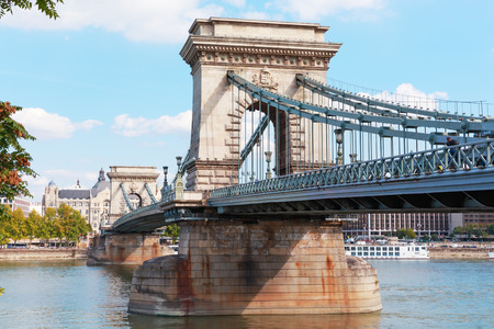 Budapest, Hungary. The famous chain bridge on the Danube