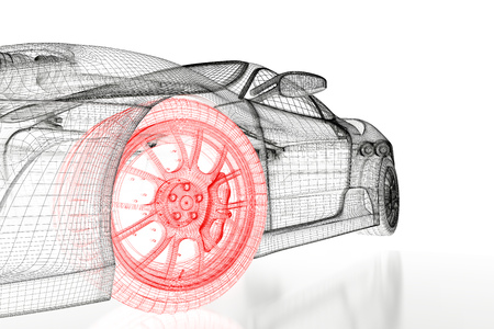 rendered: Car vehicle 3d blueprint mesh model with a red wheel tire on a white background. 3d rendered image Stock Photo