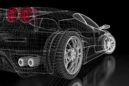 Auto voertuig 3d blauwdruk mesh model op een zwarte achtergrond. 3d teruggegeven afbeelding