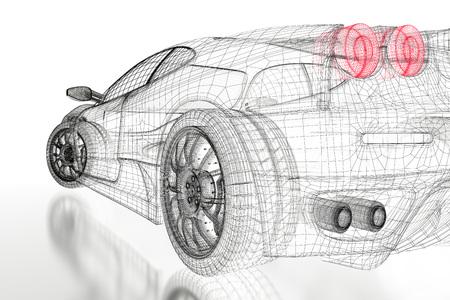 흰색 배경에 자동차 차량 3D 청사진 메쉬 모델. 3d 렌더링 된 이미지