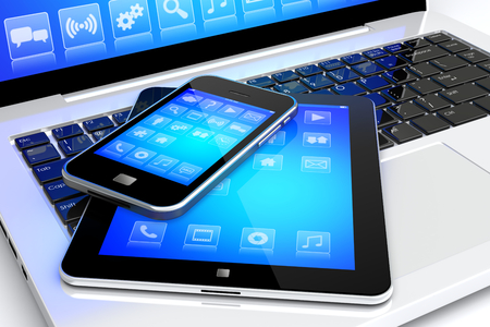 Laptop, tablet pc computer and mobile smartphone gadget with a blue background and apps on a device screen. Isolated on a white. 3d image