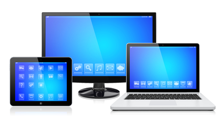 Computer monitor, laptop and tablet pc, with a blue screen and apps. Isolated on a white. 3d image
