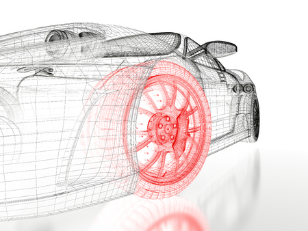 Car vehicle 3d blueprint mesh model with a red wheel tire on a white background. 3d rendered image Stock Photo