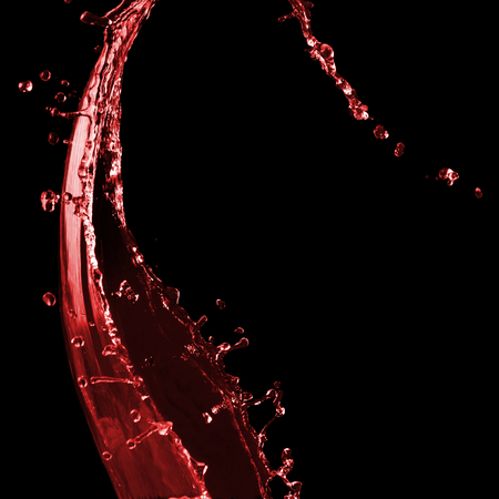 Clear splash of red wine or juice water with drops. Isolated on a black