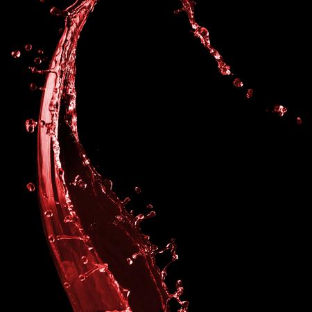 레드 와인 또는 쥬스 물 방울과 맑은 스플래시. 블랙에 절연 스톡 콘텐츠 - 94728392