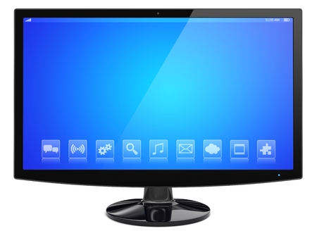 Computer pc wide monitor with a blue screen and apps