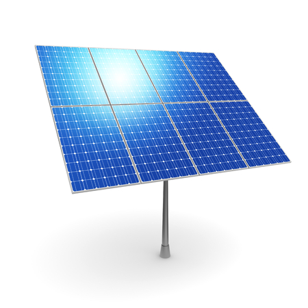 Battery of solar energy power electricity panels. 3d illustration Archivio Fotografico - 116418084