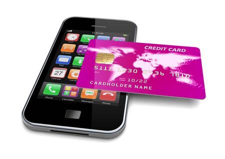La carta di credito è sullo smartphone. Concetto di pagamento e acquisto di denaro elettronico mobile. illustrazione 3D