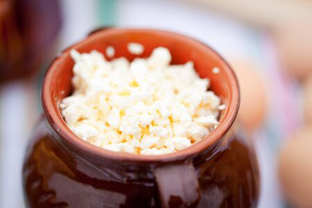 clay pot: cottage cheese Stock Photo