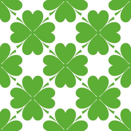 Saint Patrick's day design - Four leaf clover seamless pattern on background
