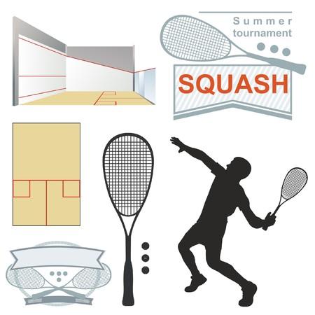 Squash, emblèmes, silhouette. sur fond blanc Vecteurs