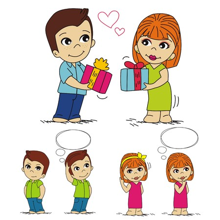 contemplate: boy gives a girl a gift, thinking what to give, boy and girl cartoon Illustration