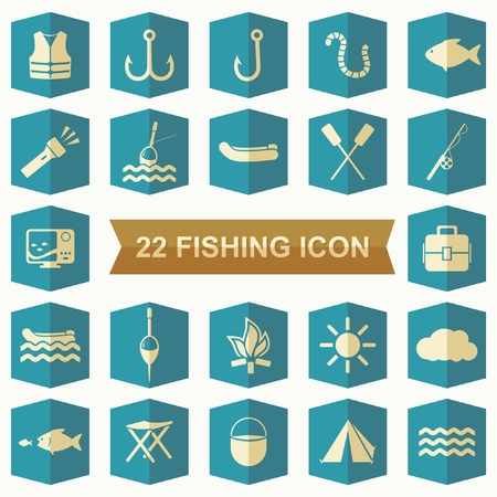 echo: flat design icon Fishing, camping