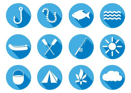 flat design icon Fishing, camping