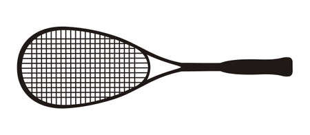 Black squash racket on a white background