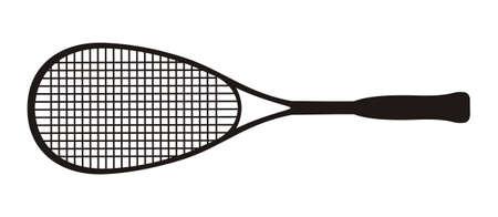 Black squash racket on a white background
