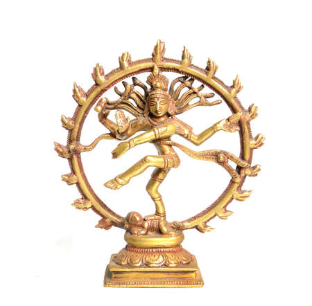 Bronze statuette of Dancing Shiva - indian hindu god isolated on white.  photo