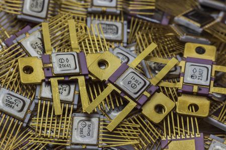 logica: microchip lógica Goldplated militar de la vendimia