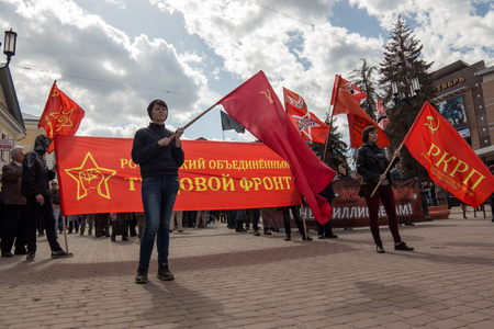 occupy: Protest activity in Russia during 1st of May the International Workers Day