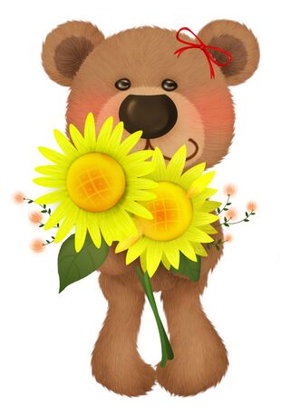 Cute bear with a bouquet
