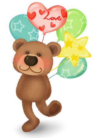 Cute bear with balloons photo