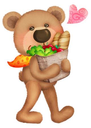 Cute bear went to shopping