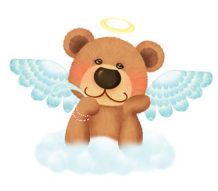 Cute bear angel Фото со стока