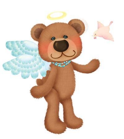 Cute bear angel with little bird Stock Photo