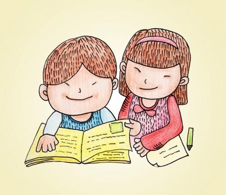 kids reading book: kids reading book  Stock Photo