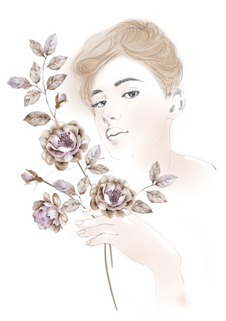 beautifu: watercolor illustration flowers and Portrait of beautiful woman  in simple background