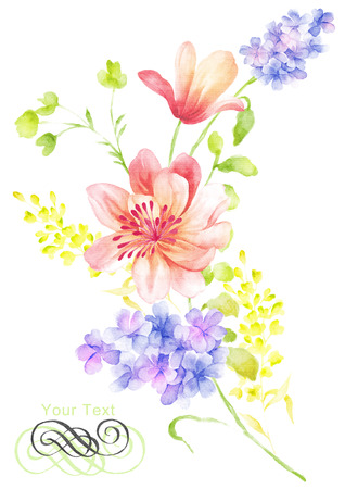 watercolor illustration flower bouquet in simple background Stock Photo