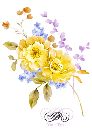 watercolor illustration flower bouquet in simple background Stok Fotoğraf