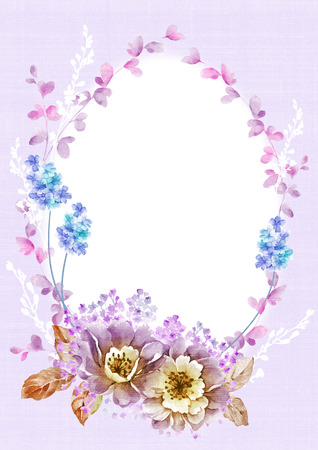 un: watercolor floral illustration collection  flowers arranged un a shape of the wreath perfect