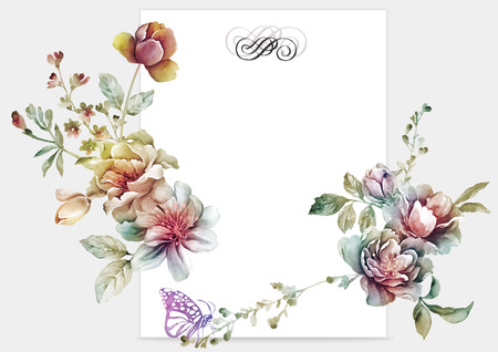 watercolor floral illustration collection  flowers arranged un a shape of the wreath perfect