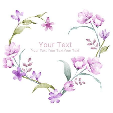 un: watercolor floral illustration collection. flowers arranged un a shape of the wreath perfect Stock Photo