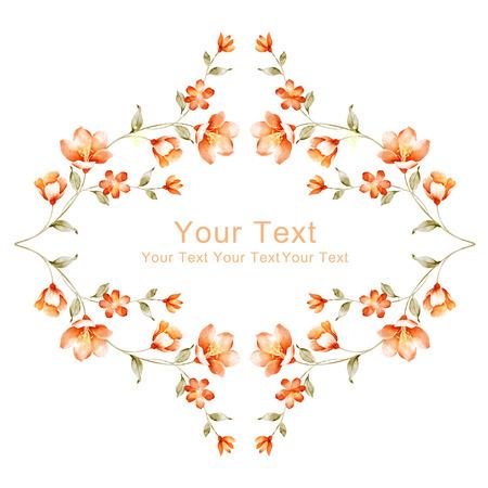 borde de flores: acuarela floral ilustraci�n colecci�n. flores dispuestas ONU una forma de la corona perfecta Foto de archivo
