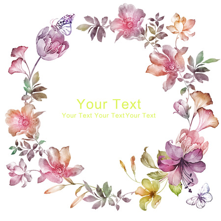 watercolor floral illustration collection. flowers arranged un a shape of the wreath perfect Stockfoto