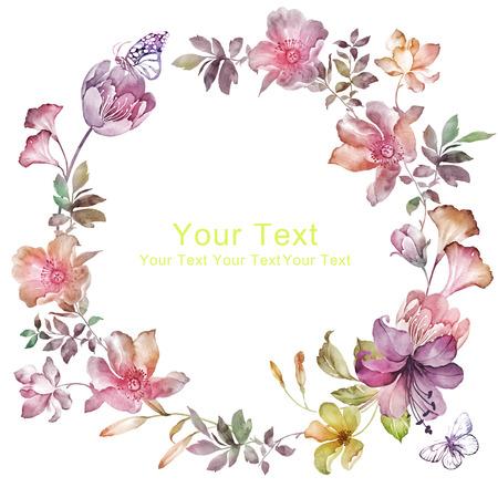 watercolor floral illustration collection. flowers arranged un a shape of the wreath perfect Banque d'images