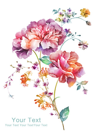 graphic artist: watercolor illustration flowers in simple background
